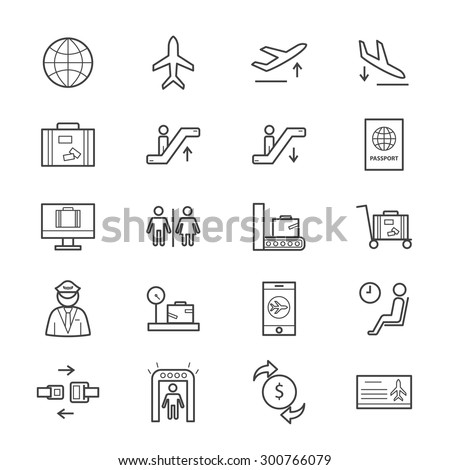 Airport Icons Line - stock vector