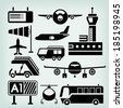 airport icons set - stock vector