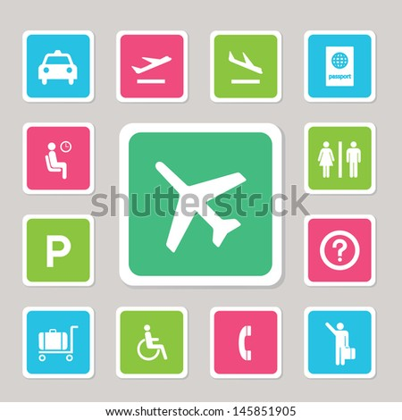 Airport icons set for use  - stock vector
