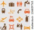 Airport icons set.Vector - stock vector