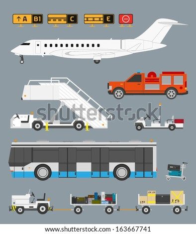 Airport info graphic set with business jet, passenger bus and baggage carts - stock vector