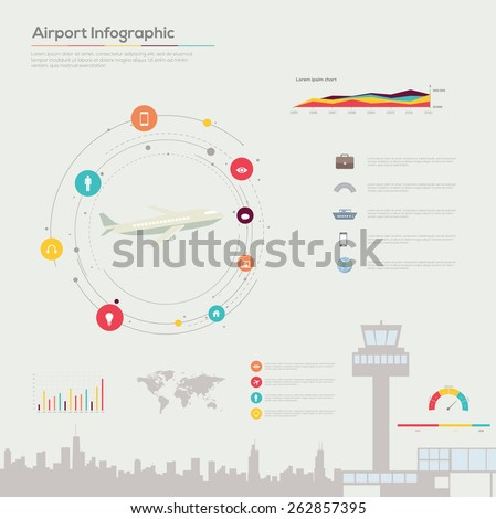Airport infographics. Vector set  - stock vector