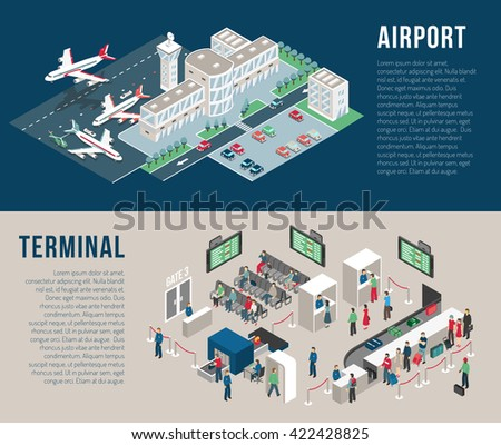 Airport isometric horizontal banners with parking hotel waiting hall front desk police detectors passengers isolated vector illustration - stock vector