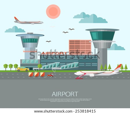 Airport landscape with place for text. Flat style design. Vector illustration. - stock vector
