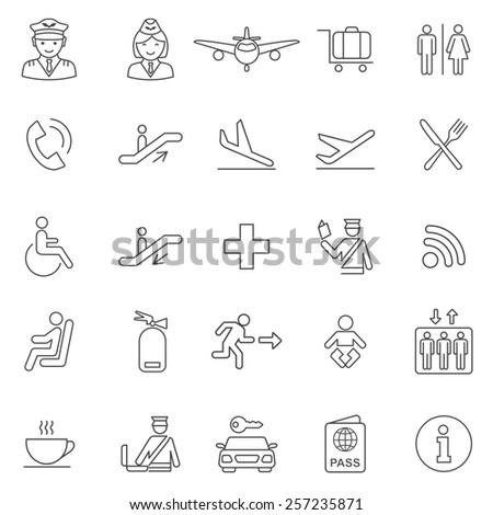 Airport   line icons set.Vector - stock vector