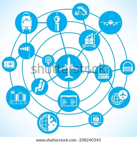 airport management concept info graphic network with blue theme - stock vector
