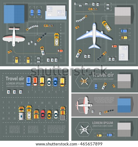 Airport passenger terminal top view. The runway of the aircraft. Buildings hangar for airplanes and helicopter landing pad. Parking with cars. Bundle vector illustration