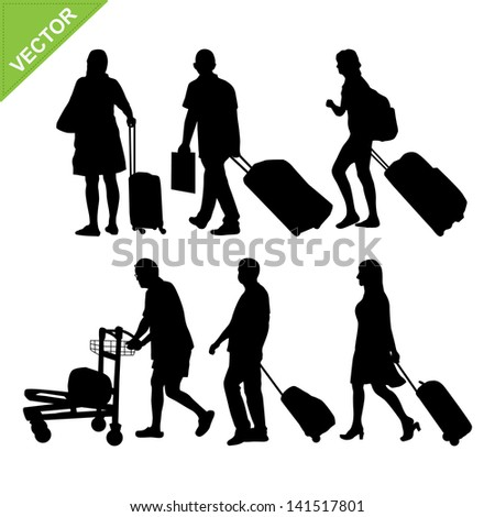 Airport passengers silhouettes vector - stock vector