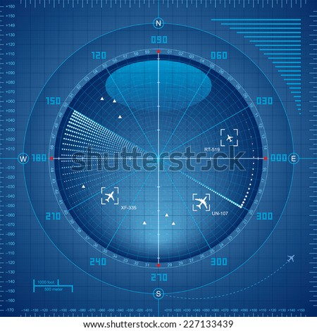Airport radar screen. Eps8. CMYK. Organized by layers. Global colors. Gradients used. - stock vector