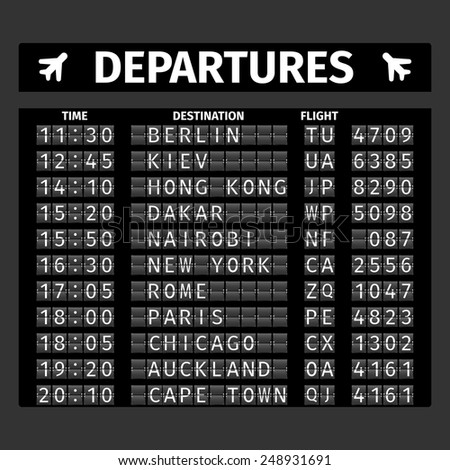 Airport retro analog departure board timetable travel background vector illustration - stock vector