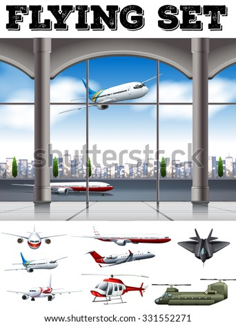 Airport scene with many airplanes illustration - stock vector