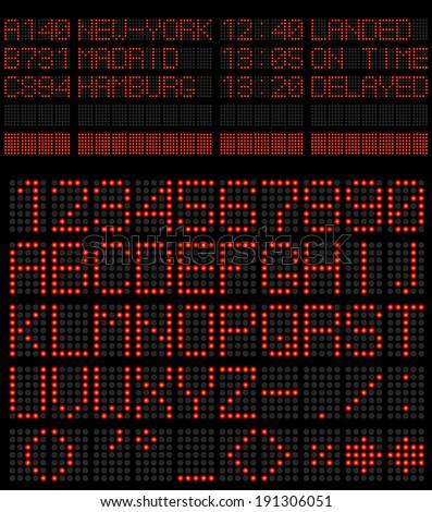 Airport schedule alphabet red diode vector template. - stock vector