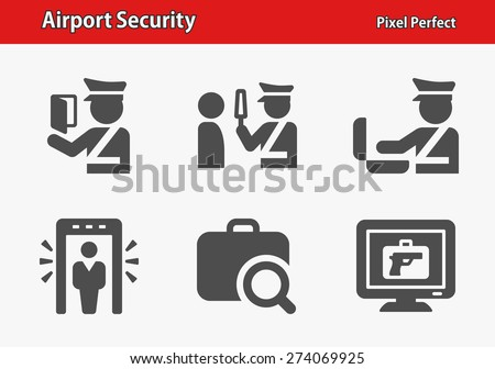 Airport Security Icons. Professional, pixel perfect icons optimized for both large and small resolutions. EPS 8 format. - stock vector