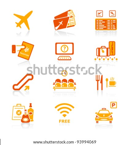 Airport services and objects icon-set in red-orange - stock vector