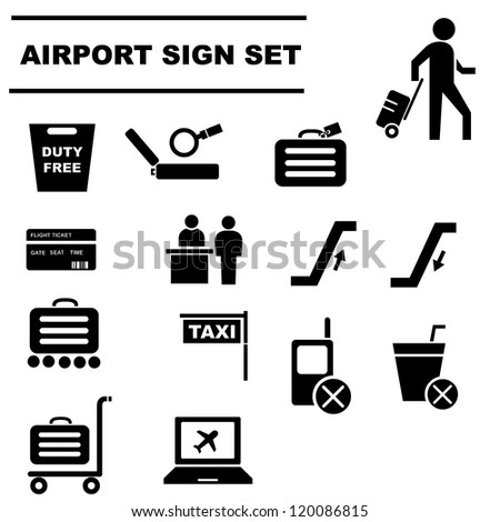 airport sign set - stock vector