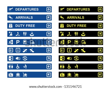 Airport Terminal Banners Symbols Stock Vector 131146721 Shutterstock