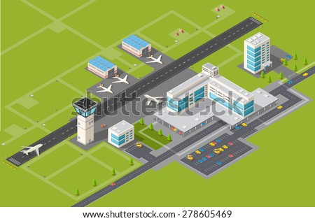 Airport terminal for arrival and departure of aircraft and passengers traveling - stock vector