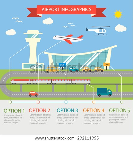 Airport terminal infographic design elements with different transport vehicles, include plane, helicopter, train, car, truck, bus, vector illustration.  - stock vector