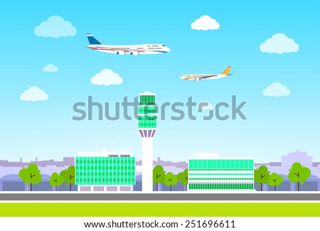 airport terminal with aircraft flying flat design vector illustration - stock vector