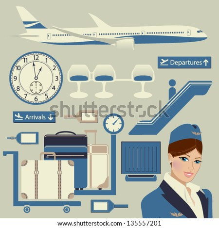 Airport Themed Set, with commercial airplane, luggage, flight attendant and other airport objects - stock vector