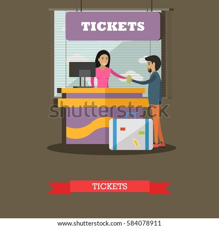 Airport ticket counter concept vector illustration in flat style. Ticket agent and passenger characters.