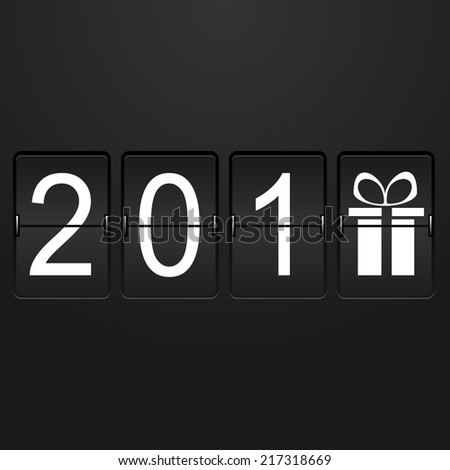 Airport Time Table with numbers 201 and last digit in the form of a gift in style new year for design. vector illustrations - stock vector