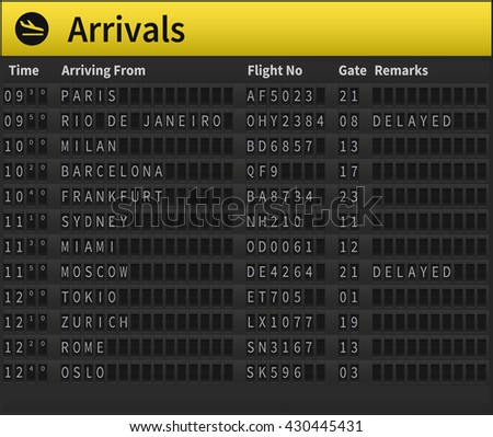 Airport timetable showing arrival times. Worldwide arrivals shown, including Zurich, Moscow, London, Sydney and others. Very detailed illustration of airport timetable.