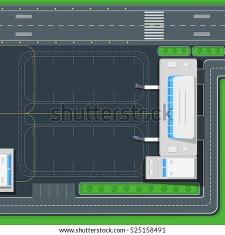 Airport top view concept passenger airport stock vector 525158491 passenger airport terminal building road cars bus malvernweather Gallery