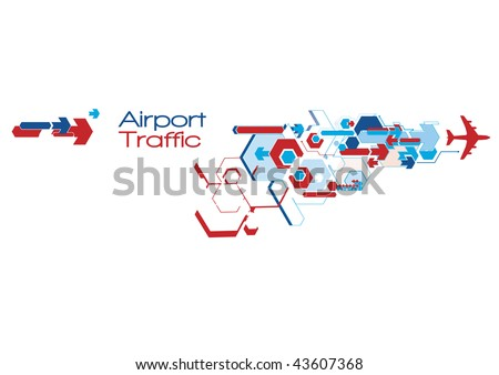 Airport traffic abstract graphics in movement - stock vector