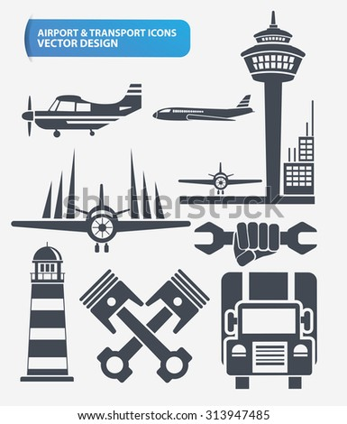 Airport,Transport,logistic and construction icon set design,clean vector - stock vector