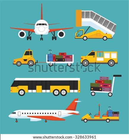 Airport transport vector flat set - stock vector