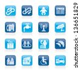Airport, travel and transportation icons -  vector icon set 3 - stock vector