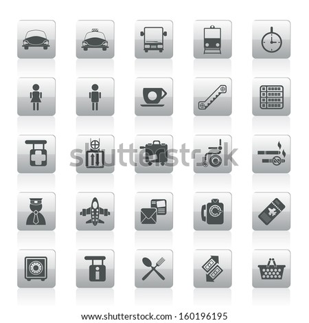 Airport, travel and transportation icons -  vector icon set - stock vector
