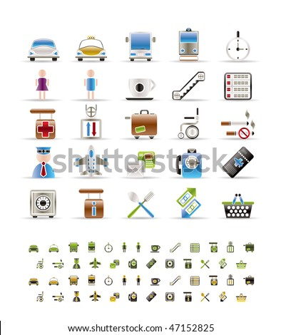 Airport, travel and transportation icons -  vector icon set- 3 colors included - stock vector