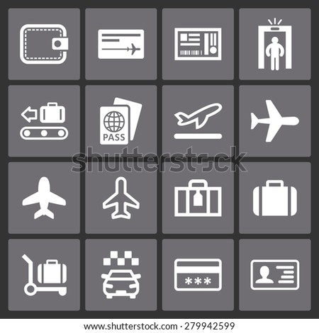 Airport vector icon set