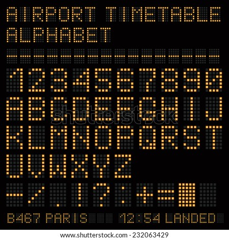 Airport vector timetable yellow alphabet.