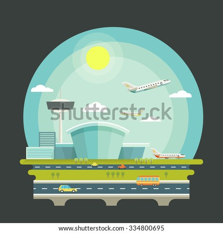 Airport with planes or aircrafts in flat design style. Transport air travel concept background. Terminal and airplane transport, travel vector illustration - stock vector