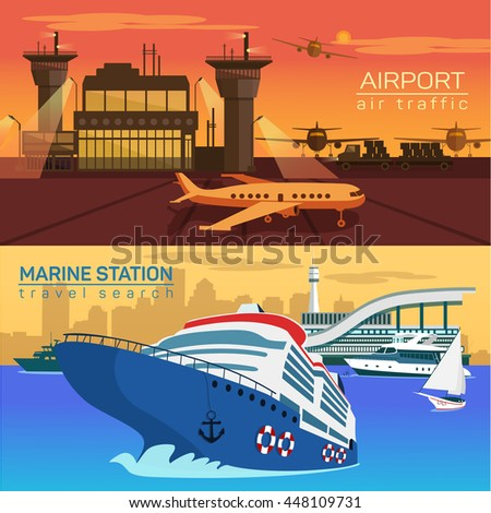 Airport with planes or jets, airplanes and air control towers. Sea or ocean with ships and yachts with sail or canvas. Public naval and marine water and speed air transportation - stock vector