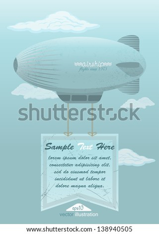 airship against the blue sky, retro poster - stock vector