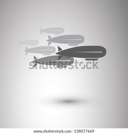 Airship Icons - stock vector