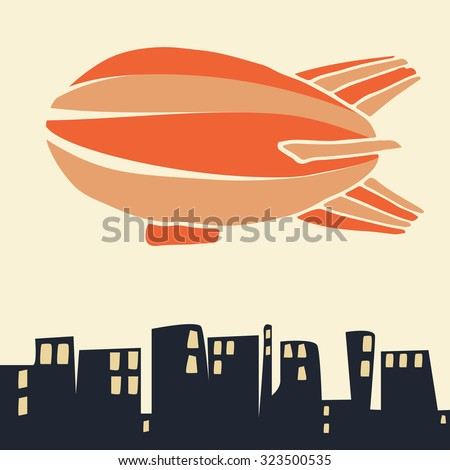 Airship in sky, flying over the city. Flat illustration - stock vector