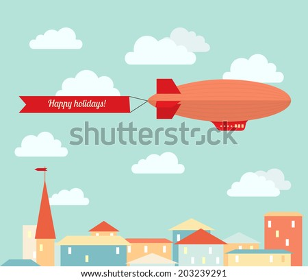 Airship in the cloudy sky, flying over the city. Flat vector illustration. - stock vector