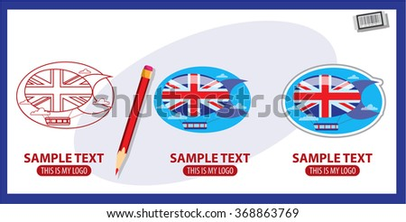Airship logo, blimp, dirigible, England - stock vector
