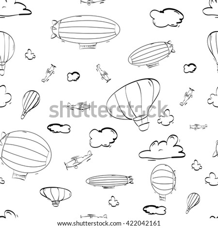airship, planes and clouds pattern - stock vector