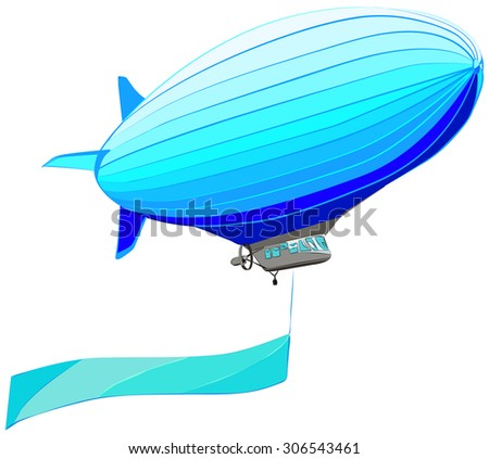 Airship with flag banner, vector illustration, isolated on while - stock vector