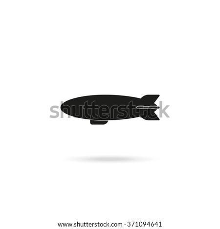 Airship zeppelin icon. Dirigible illustration. - stock vector
