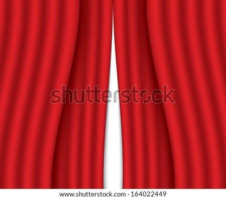 ajar red curtain. vector illustration. eps10 - stock vector