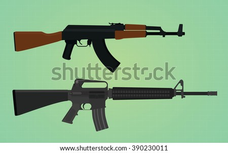 ak-47 vs m16 comparation with green backround