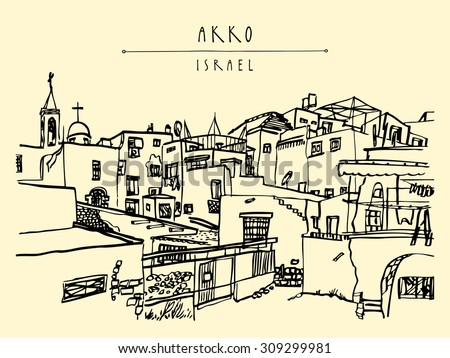 "Akko, Israel skyline. Churches, mosques. Isolated vector illustration. Grungy ink brush drawing. Postcard poster design. Freehand travel sketch background with ""Akko, Israel"" hand lettered title"