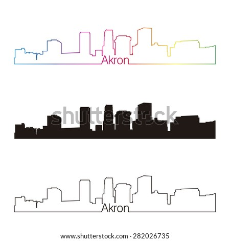 Akron skyline linear style with rainbow in editable vector file